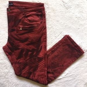 Embellish Slim Moto Biker Red Black Tie Dye Jeans